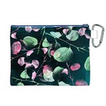 Modern Green And Pink Leaves Canvas Cosmetic Bag (XL) Back