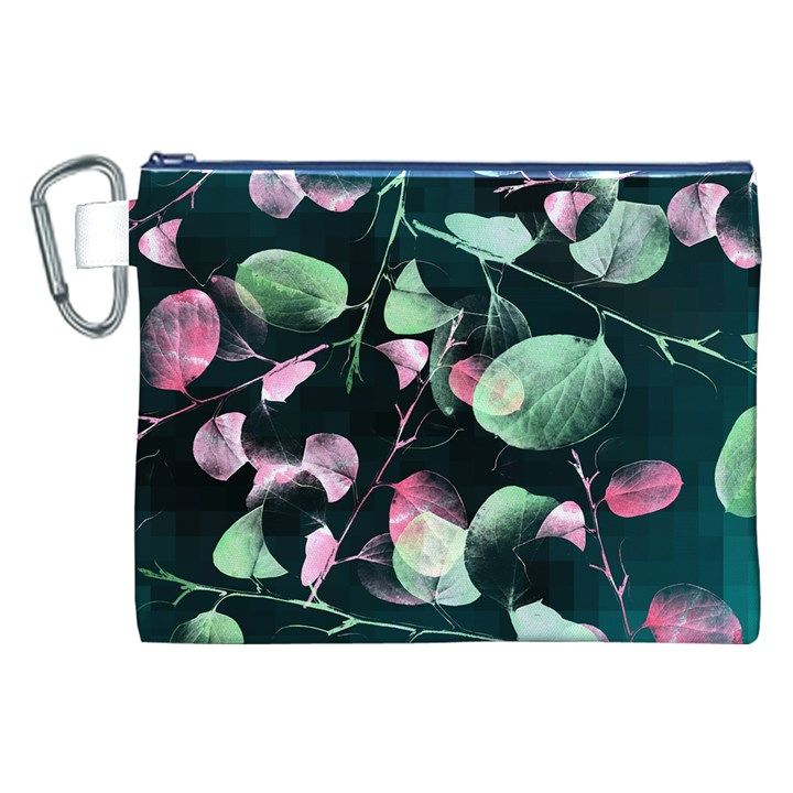 Modern Green And Pink Leaves Canvas Cosmetic Bag (XXL)