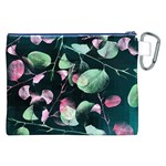 Modern Green And Pink Leaves Canvas Cosmetic Bag (XXL) Back