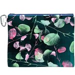 Modern Green And Pink Leaves Canvas Cosmetic Bag (XXXL) Front