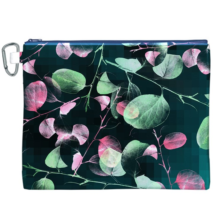 Modern Green And Pink Leaves Canvas Cosmetic Bag (XXXL)