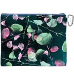 Modern Green And Pink Leaves Canvas Cosmetic Bag (XXXL) Back