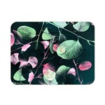 Modern Green And Pink Leaves Double Sided Flano Blanket (Mini)  35 x27 Blanket Back