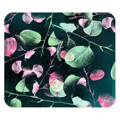 Modern Green And Pink Leaves Double Sided Flano Blanket (Small)