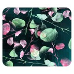 Modern Green And Pink Leaves Double Sided Flano Blanket (Small)  50 x40 Blanket Front