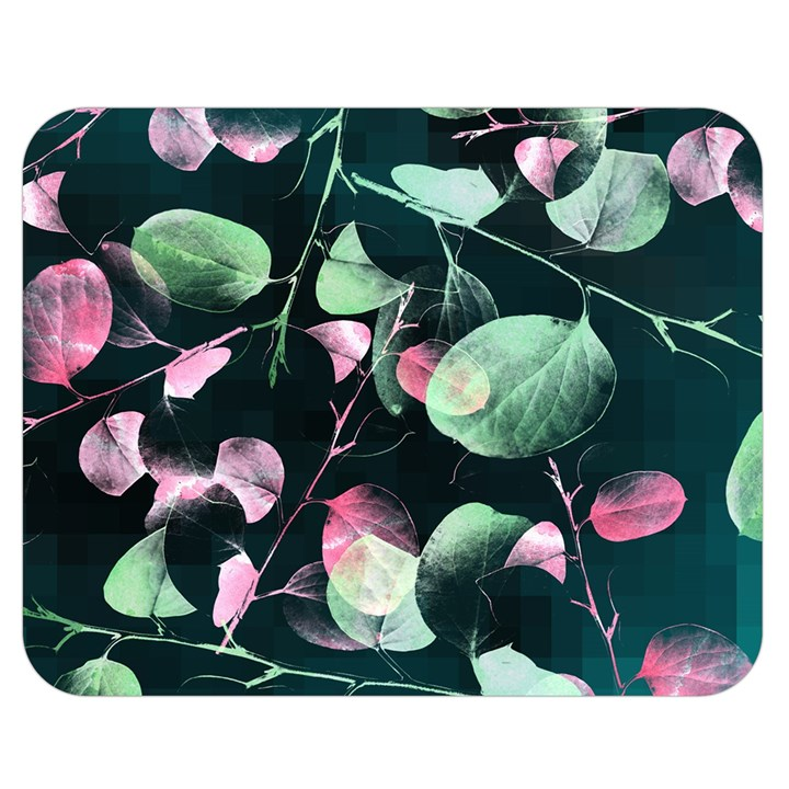 Modern Green And Pink Leaves Double Sided Flano Blanket (Medium)