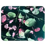 Modern Green And Pink Leaves Double Sided Flano Blanket (Medium)  60 x50 Blanket Back