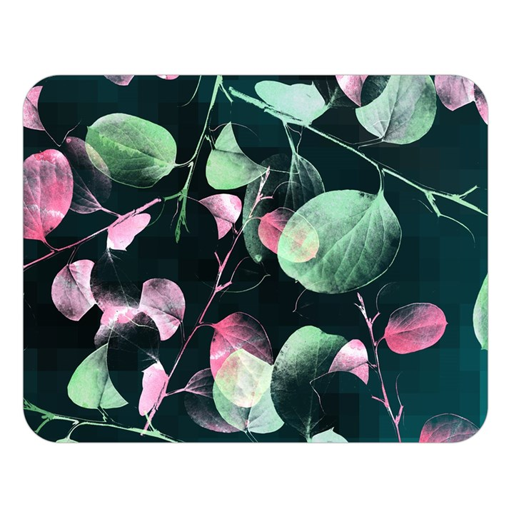 Modern Green And Pink Leaves Double Sided Flano Blanket (Large)