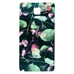 Modern Green And Pink Leaves Galaxy Note 4 Back Case Front