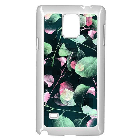 Modern Green And Pink Leaves Samsung Galaxy Note 4 Case (White)