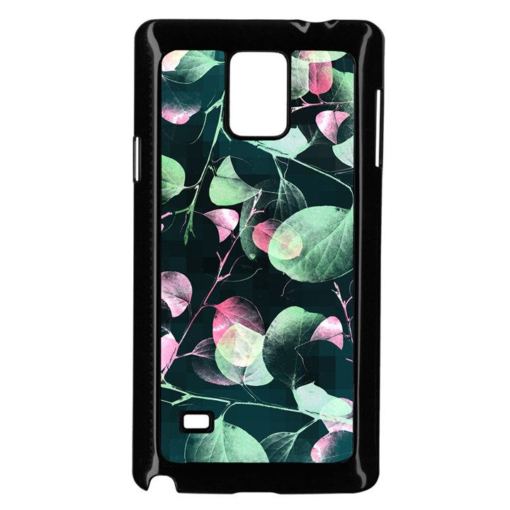 Modern Green And Pink Leaves Samsung Galaxy Note 4 Case (Black)