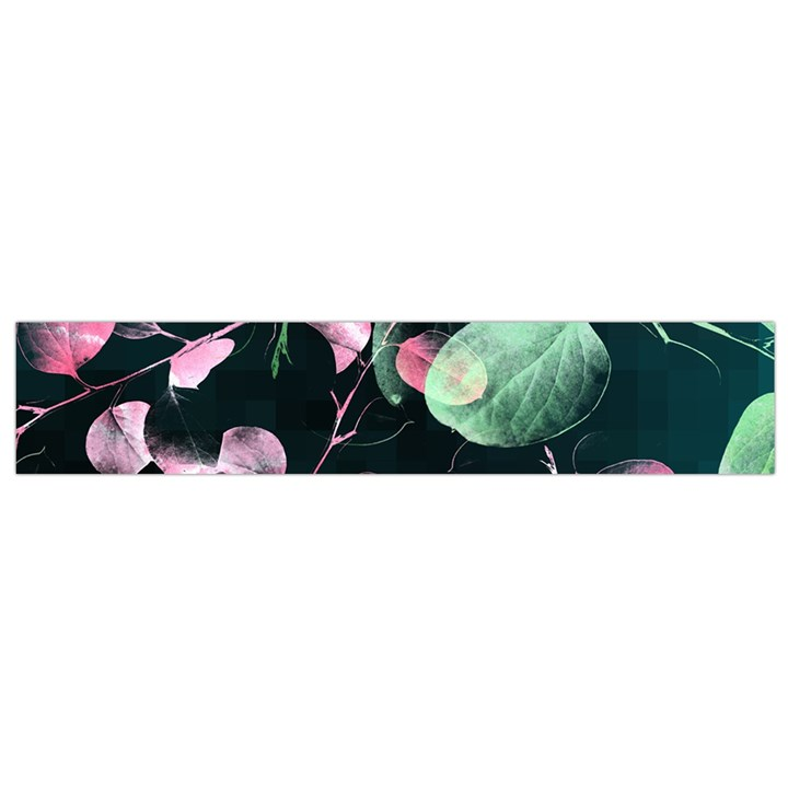 Modern Green And Pink Leaves Flano Scarf (Small)