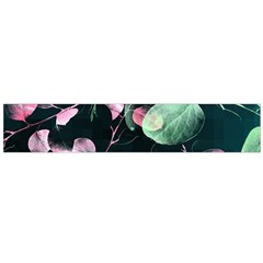 Modern Green And Pink Leaves Flano Scarf (Large)