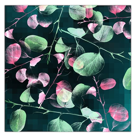 Modern Green And Pink Leaves Large Satin Scarf (Square)
