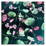Modern Green And Pink Leaves Large Satin Scarf (Square) Front