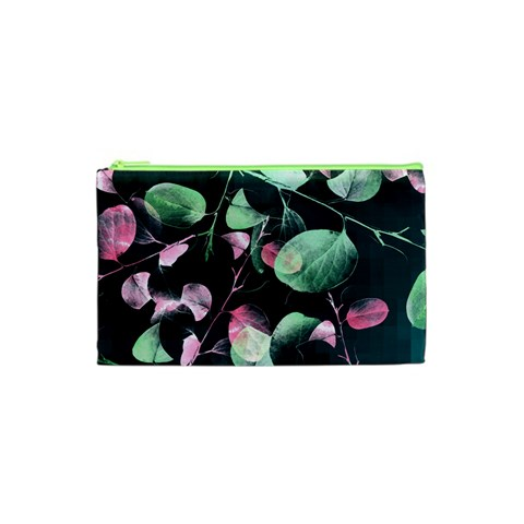 Modern Green And Pink Leaves Cosmetic Bag (XS)