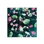 Modern Green And Pink Leaves Satin Bandana Scarf Front
