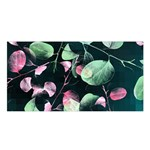 Modern Green And Pink Leaves Satin Shawl Front