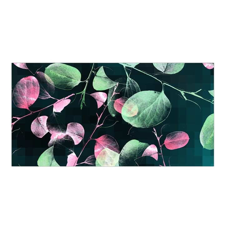 Modern Green And Pink Leaves Satin Shawl