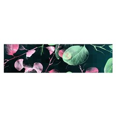 Modern Green And Pink Leaves Satin Scarf (oblong)
