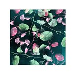 Modern Green And Pink Leaves Small Satin Scarf (Square)  Front