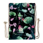 Modern Green And Pink Leaves Drawstring Bag (Large) Front