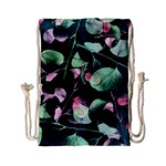Modern Green And Pink Leaves Drawstring Bag (Small) Back