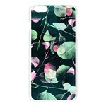 Modern Green And Pink Leaves Apple Seamless iPhone 6 Plus/6S Plus Case (Transparent) Front