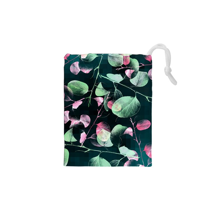 Modern Green And Pink Leaves Drawstring Pouches (XS)