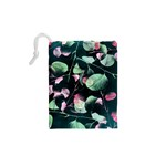 Modern Green And Pink Leaves Drawstring Pouches (XS)  Back