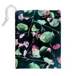 Modern Green And Pink Leaves Drawstring Pouches (Extra Large) Back
