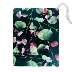 Modern Green And Pink Leaves Drawstring Pouches (XXL)