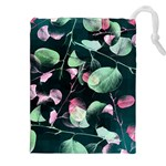 Modern Green And Pink Leaves Drawstring Pouches (XXL) Front