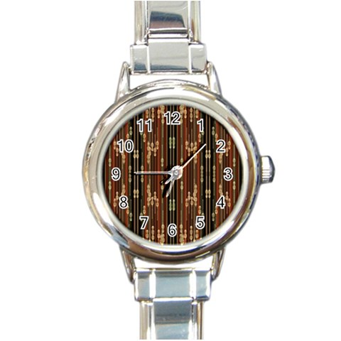 Floral Strings Pattern  Round Italian Charm Watch