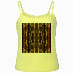 Floral Strings Pattern  Yellow Spaghetti Tank