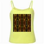 Floral Strings Pattern  Yellow Spaghetti Tank Front