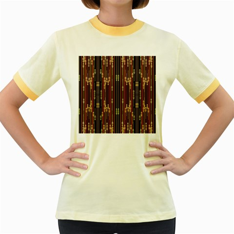Floral Strings Pattern  Women s Fitted Ringer T-Shirts