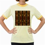 Floral Strings Pattern  Women s Fitted Ringer T-Shirts Front