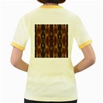Floral Strings Pattern  Women s Fitted Ringer T-Shirts Back
