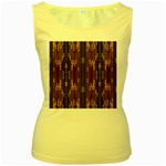 Floral Strings Pattern  Women s Yellow Tank Top Front