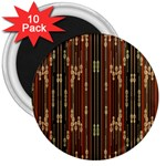 Floral Strings Pattern  3  Magnets (10 pack)  Front