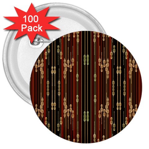Floral Strings Pattern  3  Buttons (100 pack)
