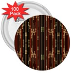Floral Strings Pattern  3  Buttons (100 pack)  Front