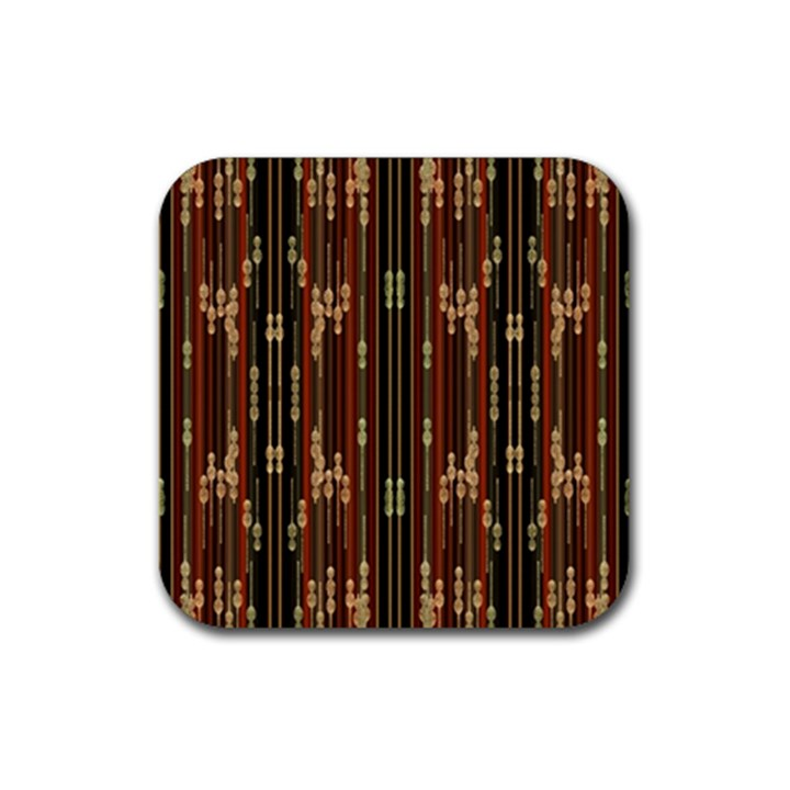 Floral Strings Pattern  Rubber Square Coaster (4 pack)