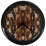 Floral Strings Pattern  Wall Clocks (Black) Front