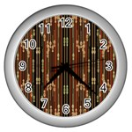 Floral Strings Pattern  Wall Clocks (Silver)  Front