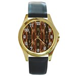 Floral Strings Pattern  Round Gold Metal Watch Front