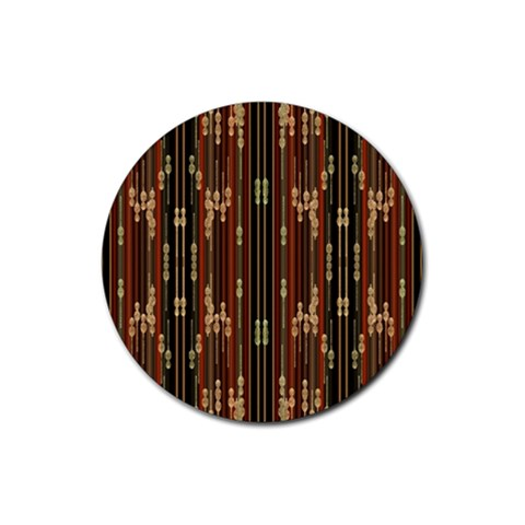 Floral Strings Pattern  Rubber Coaster (Round)