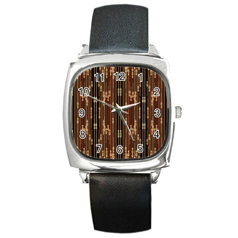 Floral Strings Pattern  Square Metal Watch