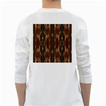 Floral Strings Pattern  White Long Sleeve T-Shirts Back